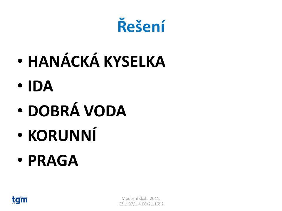 Řešení HANÁCKÁ KYSELKA IDA DOBRÁ VODA KORUNNÍ PRAGA Moderní škola 2011, CZ.1.07/1.4.00/21.1692