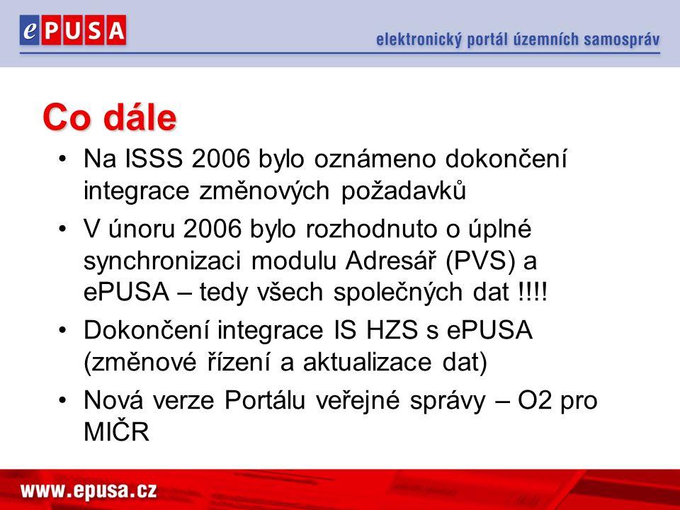 Co dále Na ISSS 2006 bylo oznámeno dokončení integrace změnových požadavků V únoru 2006 bylo rozhodnuto o úplné synchronizaci modulu Adresář (PVS) a ePUSA – tedy všech společných dat !!!.