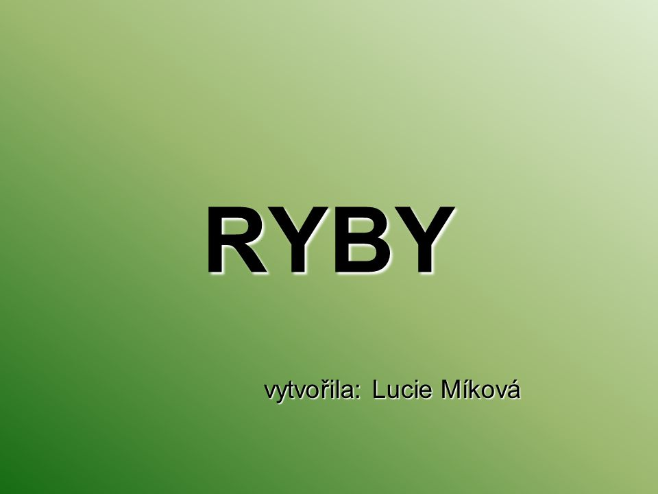 RYBY vytvořila: Lucie Míková