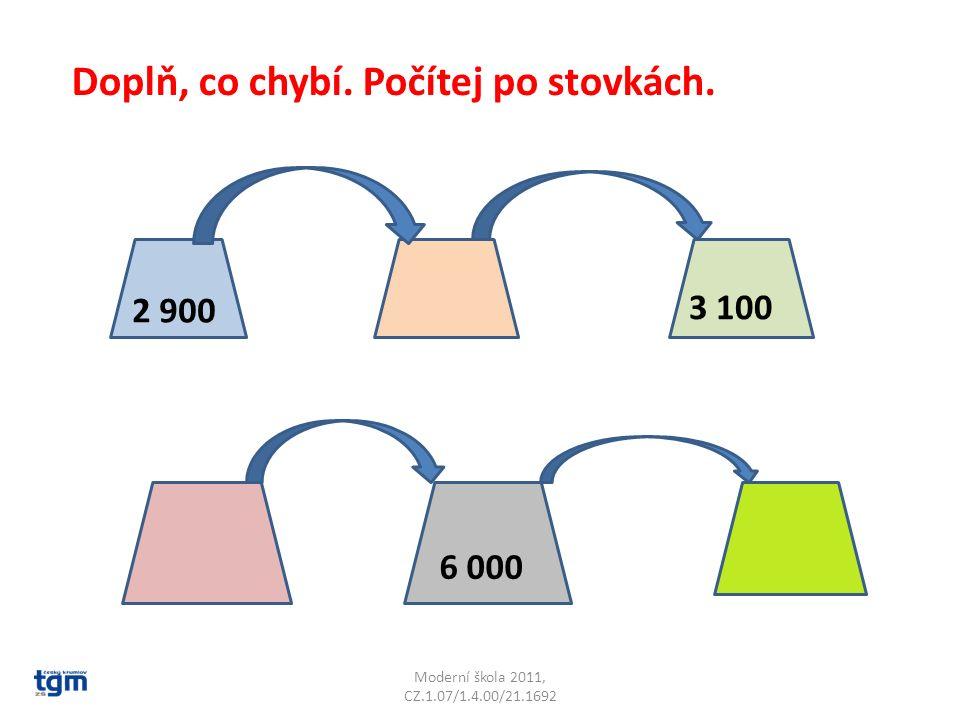 Moderní škola 2011, CZ.1.07/1.4.00/21.1692 Doplň, co chybí. Počítej po stovkách. 2 900 3 100 6 000