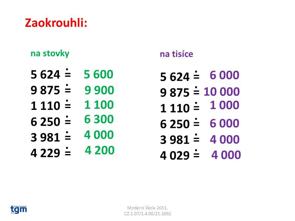 Moderní škola 2011, CZ.1.07/1.4.00/21.1692 Zaokrouhli: na stovky na tisíce 5 624 9 875 1 110 6 250 3 981 4 229 ============............