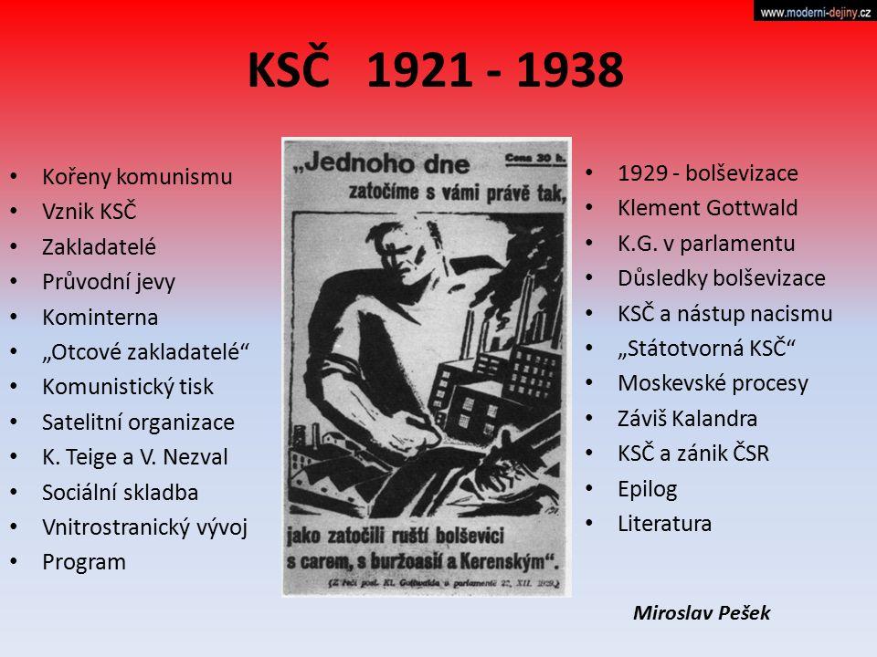 """KSČ 1921 - 1938 Kořeny komunismu Vznik KSČ Zakladatelé Průvodní jevy Kominterna """"Otcové zakladatelé"""" Komunistický tisk Satelitní organizace K. Teige a"""