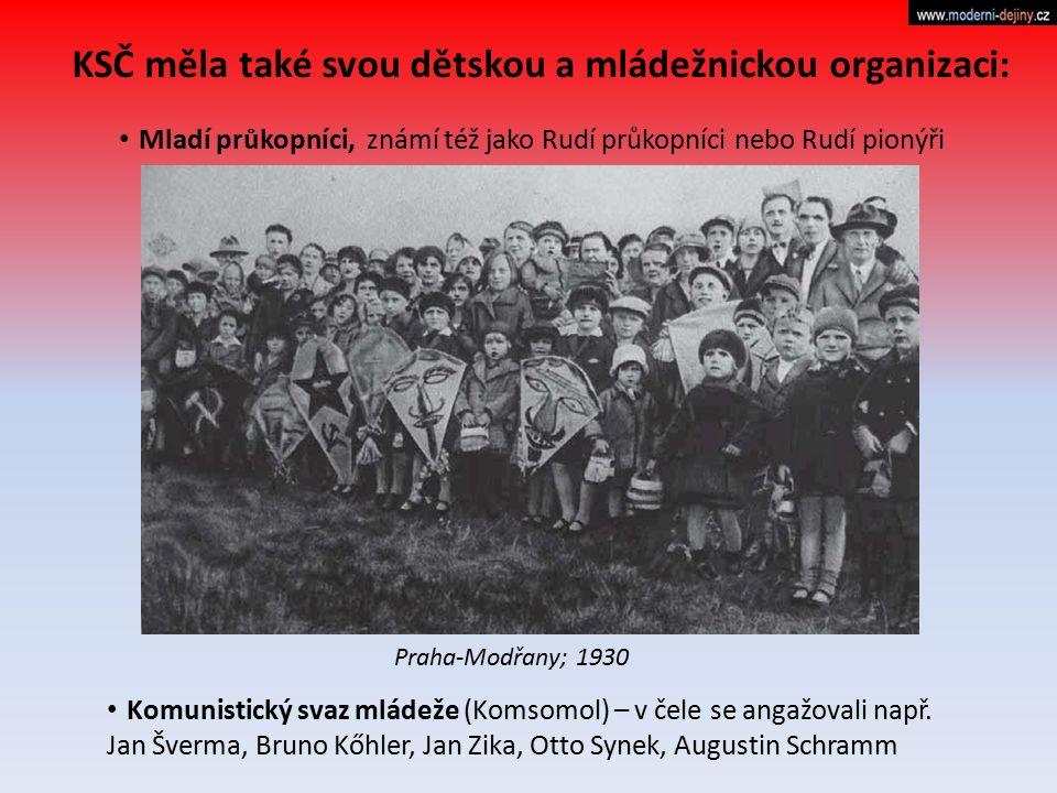 KSČ měla také svou dětskou a mládežnickou organizaci: Mladí průkopníci, známí též jako Rudí průkopníci nebo Rudí pionýři Komunistický svaz mládeže (Ko
