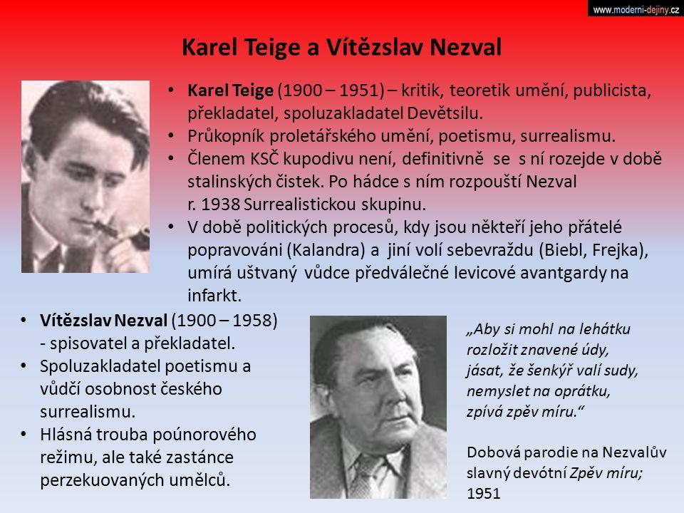 Karel Teige a Vítězslav Nezval Karel Teige (1900 – 1951) – kritik, teoretik umění, publicista, překladatel, spoluzakladatel Devětsilu. Průkopník prole