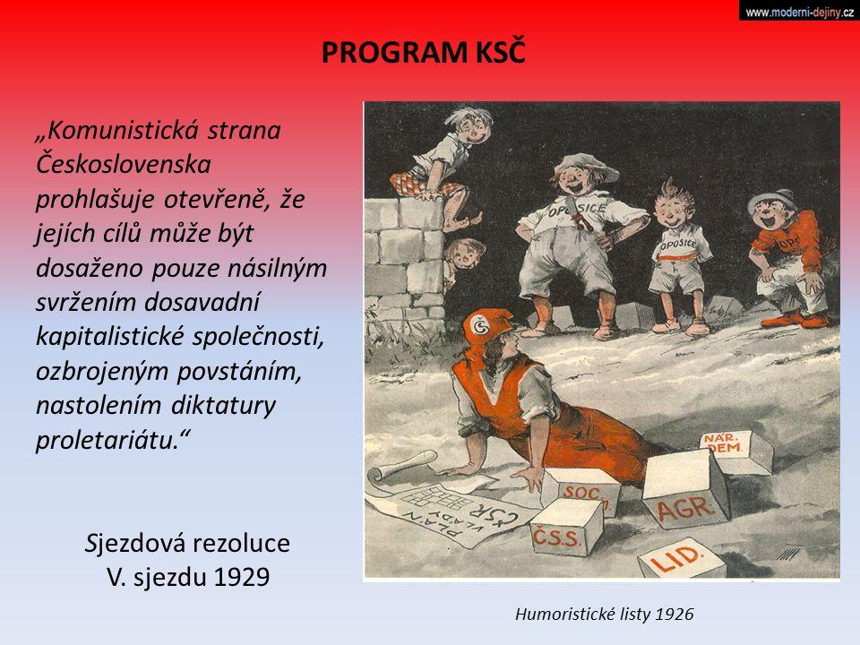 """PROGRAM KSČ """"Komunistická strana Československa prohlašuje otevřeně, že jejích cílů může být dosaženo pouze násilným svržením dosavadní kapitalistické"""