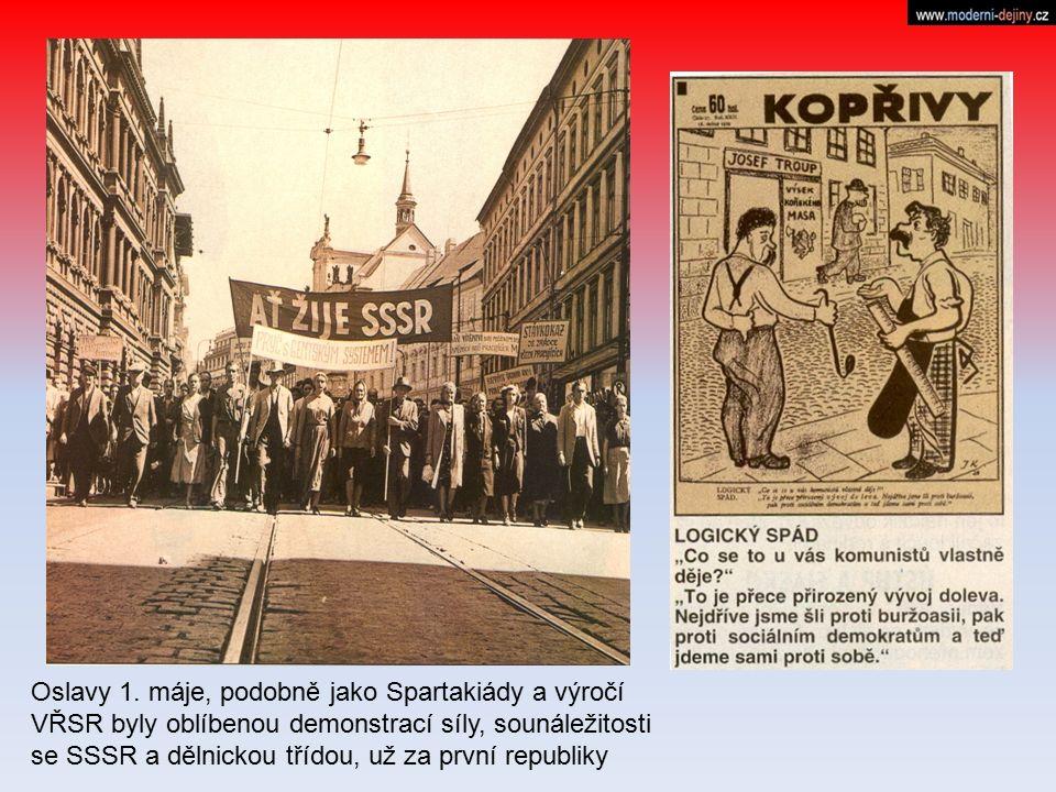 Oslavy 1. máje, podobně jako Spartakiády a výročí VŘSR byly oblíbenou demonstrací síly, sounáležitosti se SSSR a dělnickou třídou, už za první republi