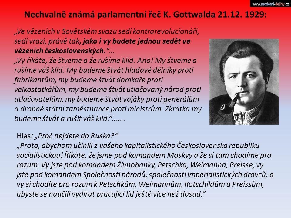 """Nechvalně známá parlamentní řeč K. Gottwalda 21.12. 1929: """"Ve vězeních v Sovětském svazu sedí kontrarevolucionáři, sedí vrazi, právě tak, jako i vy bu"""