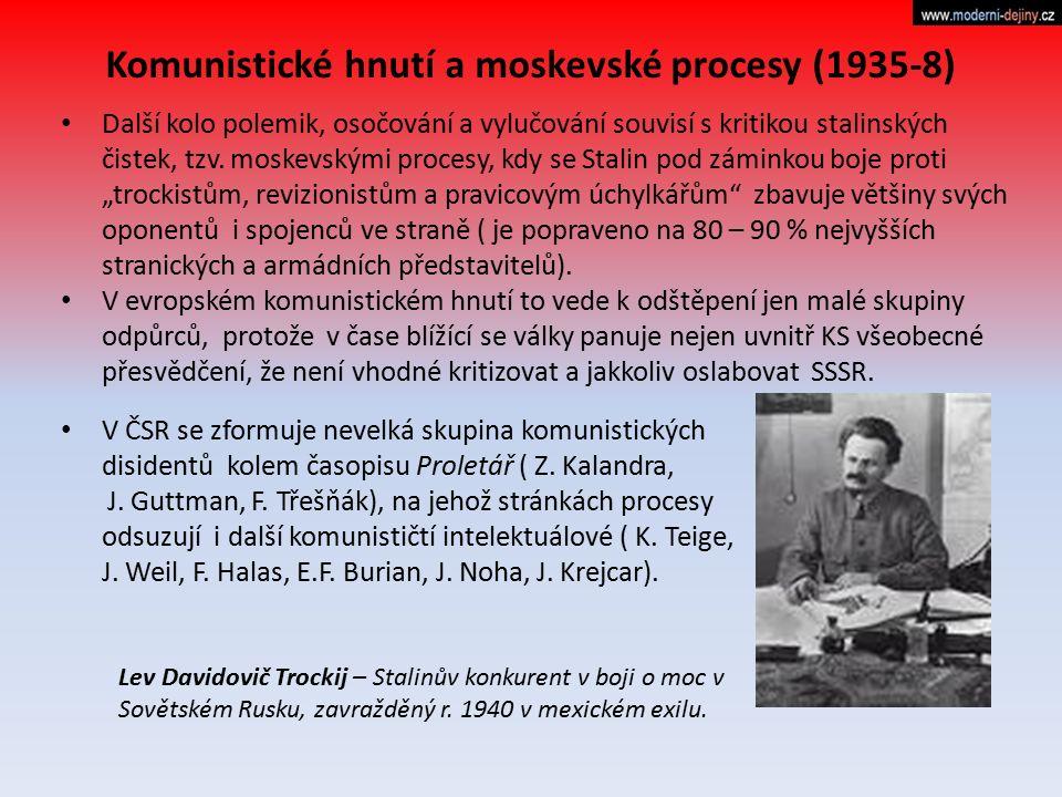 """Další kolo polemik, osočování a vylučování souvisí s kritikou stalinských čistek, tzv. moskevskými procesy, kdy se Stalin pod záminkou boje proti """"tro"""