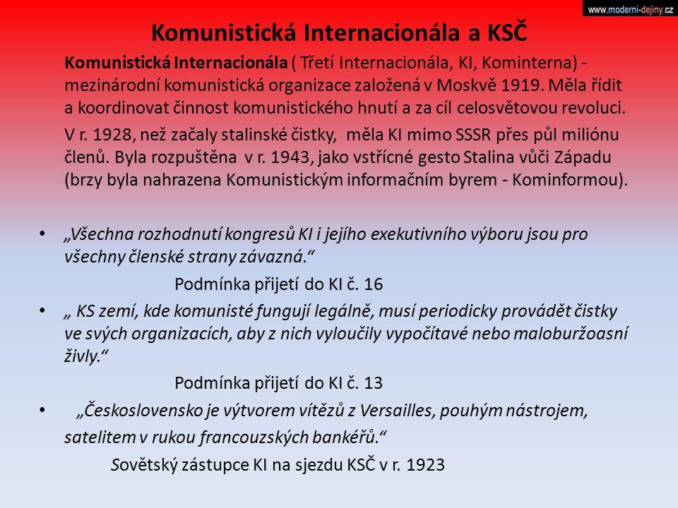 Komunistická Internacionála a KSČ Komunistická Internacionála ( Třetí Internacionála, KI, Kominterna) - mezinárodní komunistická organizace založená v