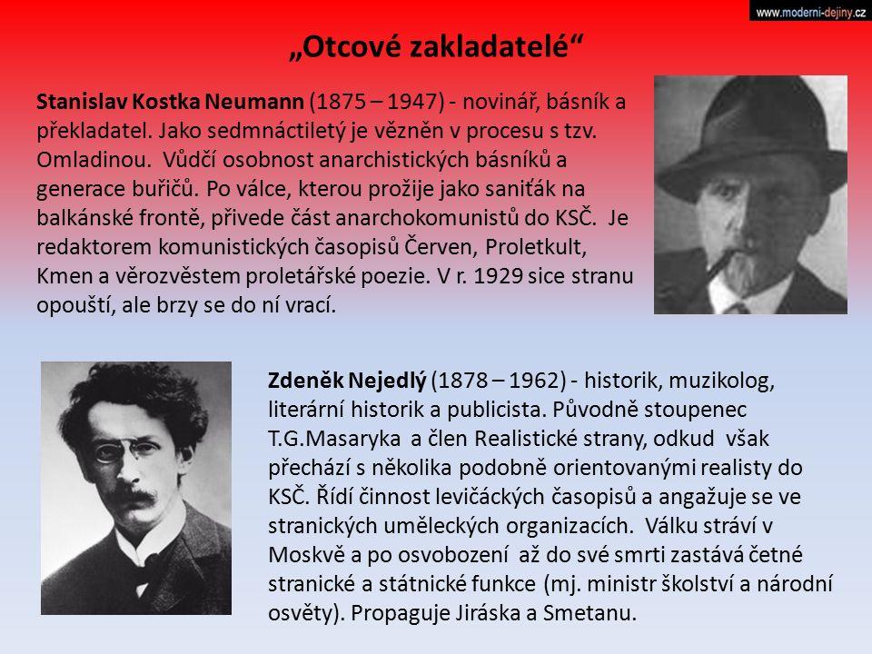 Stanislav Kostka Neumann (1875 – 1947) - novinář, básník a překladatel. Jako sedmnáctiletý je vězněn v procesu s tzv. Omladinou. Vůdčí osobnost anarch