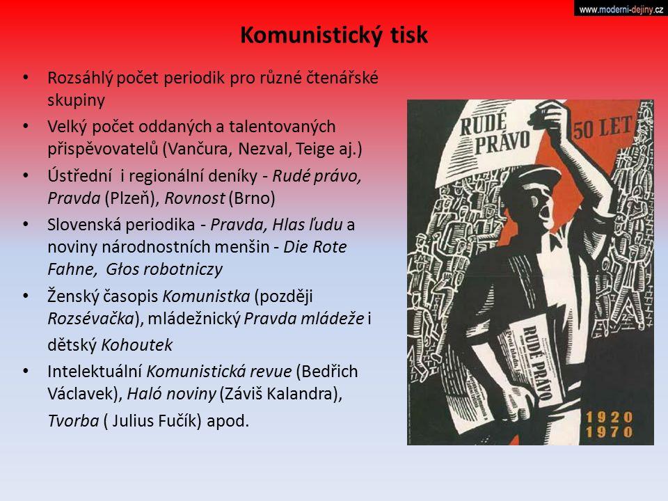 Komunistický tisk Rozsáhlý počet periodik pro různé čtenářské skupiny Velký počet oddaných a talentovaných přispěvovatelů (Vančura, Nezval, Teige aj.)