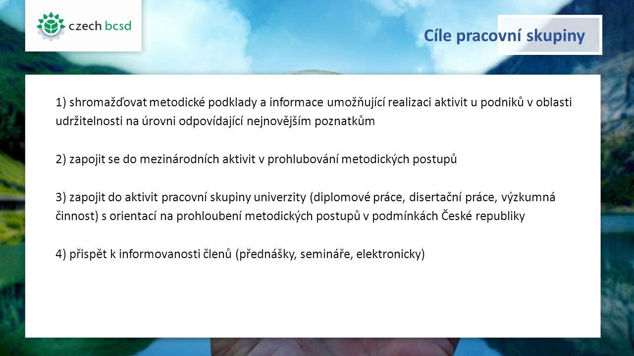 Věcné zaměření pracovní skupiny 1)implementovat manažerské účetnictví udržitelného rozvoje podle metodiky MŽP z roku 2008 využití výzkumných projektů, doktorského studia na ČZU 2)najít možné úspory v produkci pomocí nákladového účetnictví materiálových toků podle normy ISO 14 051 zkušenost s účastí v mezinárodní pracovní skupině využití výzkumného projektu na ČZU zpracování software pro implementaci nákladového účetnictví materiálových toků 3) zavést reporting udržitelného rozvoje podle metodiky Global Reporting Initiative (GRI) 4)pomoci firmám s výpočtem ekologické stopy, uhlíkové stopy a vodní stopy pomocí národních standardů