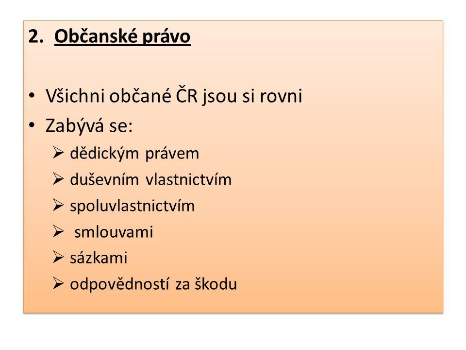 2.Občanské právo Všichni občané ČR jsou si rovni Zabývá se:  dědickým právem  duševním vlastnictvím  spoluvlastnictvím  smlouvami  sázkami  odpo