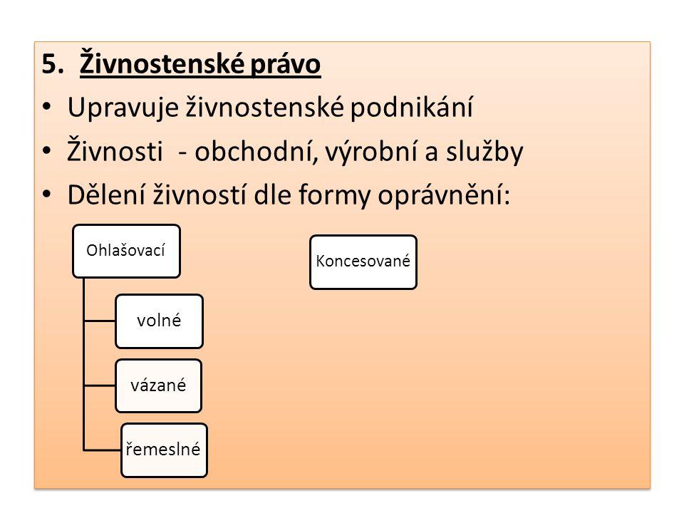 6.Finanční právo Zabývá se právními normami, upravující finanční činnost státu státní rozpočet výběr daní výběr poplatků výběr cel hospodaření s měnou vydávání cenných papírů činnost České národní banky 6.Finanční právo Zabývá se právními normami, upravující finanční činnost státu státní rozpočet výběr daní výběr poplatků výběr cel hospodaření s měnou vydávání cenných papírů činnost České národní banky