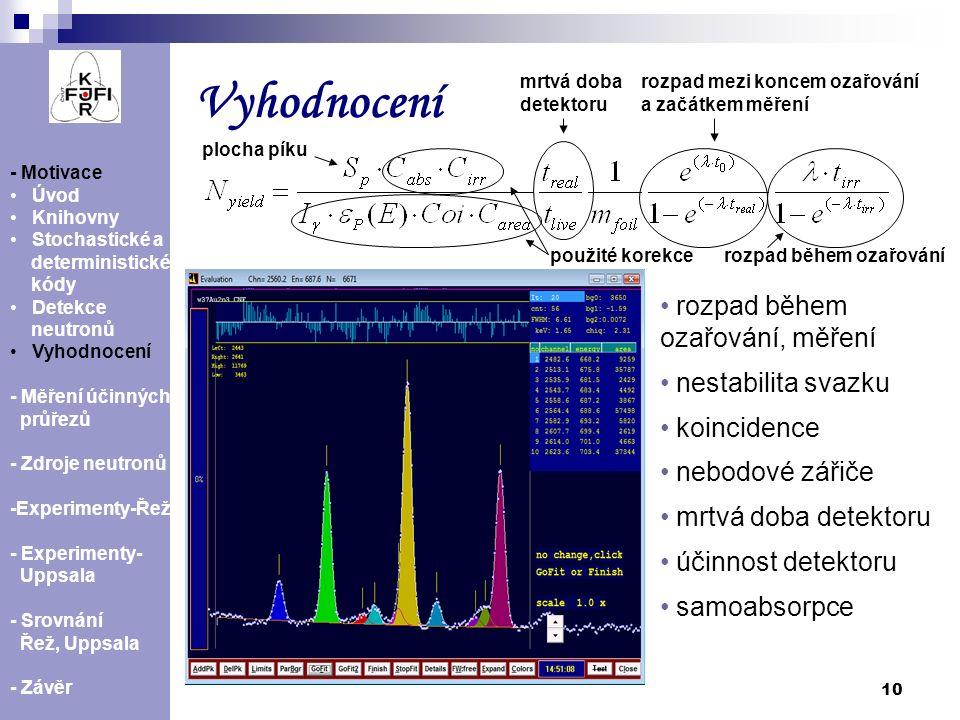 10 Vyhodnocení - Motivace Úvod Knihovny Stochastické a deterministické kódy Detekce neutronů Vyhodnocení - Měření účinných průřezů - Zdroje neutronů -