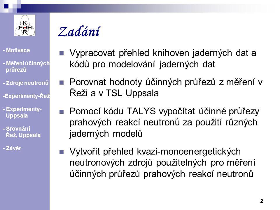 2 Zadání - Motivace - Měření účinných průřezů - Zdroje neutronů -Experimenty-Řež - Experimenty- Uppsala - Srovnání Řež, Uppsala - Závěr Vypracovat pře