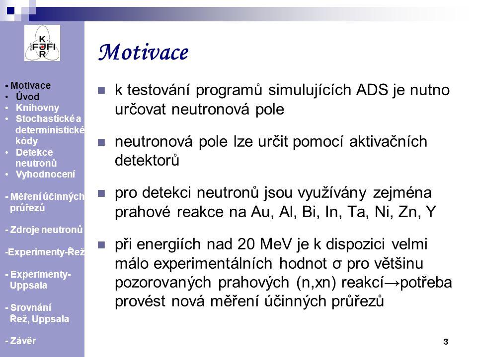 14 - Motivace Úvod Knihovny Stochastické a deterministické kódy Detekce neutronů Vyhodnocení - Měření účinných průřezů - Zdroje neutronů -Experimenty-Řež - Experimenty- Uppsala - Srovnání Řež, Uppsala - Závěr Experimenty v Řeži  duben, květen 2009, ozařování fólií na cyklotronu U-120M  rozměr fólií od 1,5x1,5 cm 2 do 3x3 cm 2, tloušťka fólií od 50 μm do 1 mm  energie protonového svazku 32,5 a 37 MeV  ozařovací doba 20 h.,ozařované fólie: Ni, Zn, Bi, Cu, In, Al, Au, Ta, Fe a vzorek obsahující I  po ozařování měřeny HPGe detektorem (doba transportu fólií kolem 15 minut)