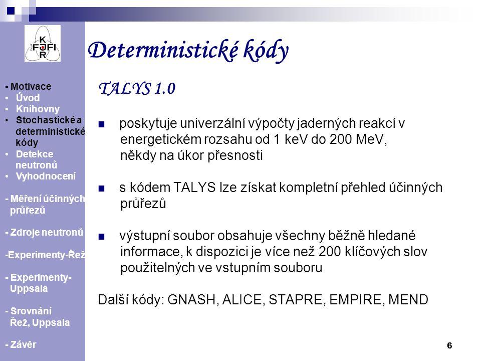 """7 TALYS 1.0 – jaderné modely Účinný průřez reakce 209 Bi(n,3n) 207 Bi spočítaný pro různé hustoty jaderných hladin - Motivace Úvod Knihovny Stochastické a deterministické kódy Detekce neutronů Vyhodnocení - Měření účinných průřezů - Zdroje neutronů -Experimenty-Řež - Experimenty- Uppsala - Srovnání Řež, Uppsala - Závěr ld1 - Fermiho model ld2 - """"zpětně posunutý Fermiho model ld3 - """"supratekutý model ld4 - Gorielyho tabulka ld5 - Hilaireyho tabulka"""