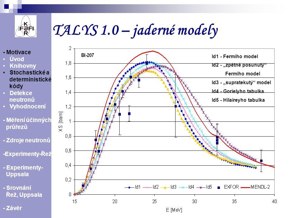 7 TALYS 1.0 – jaderné modely Účinný průřez reakce 209 Bi(n,3n) 207 Bi spočítaný pro různé hustoty jaderných hladin - Motivace Úvod Knihovny Stochastic
