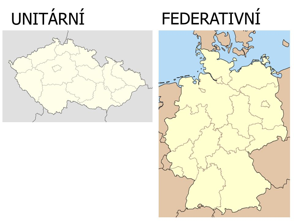 STÁTY FEDERATIVNÍ státní moc je rozložena mezi společné, tzv.
