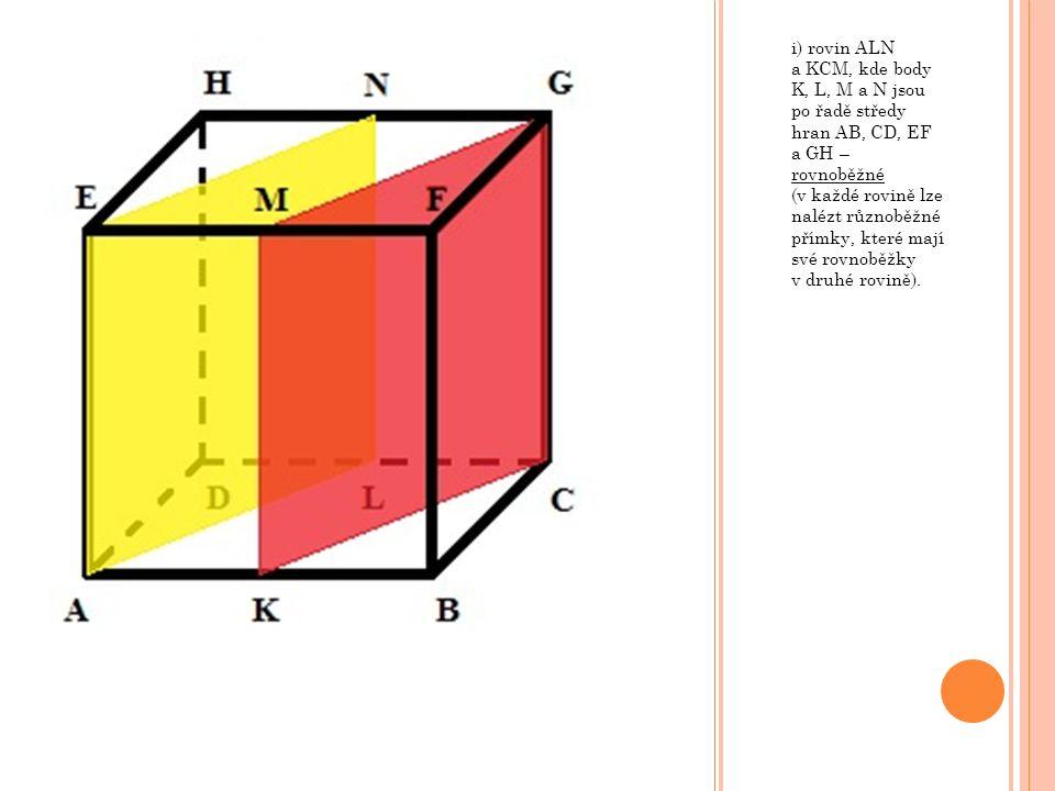 i) rovin ALN a KCM, kde body K, L, M a N jsou po řadě středy hran AB, CD, EF a GH – rovnoběžné (v každé rovině lze nalézt různoběžné přímky, které maj