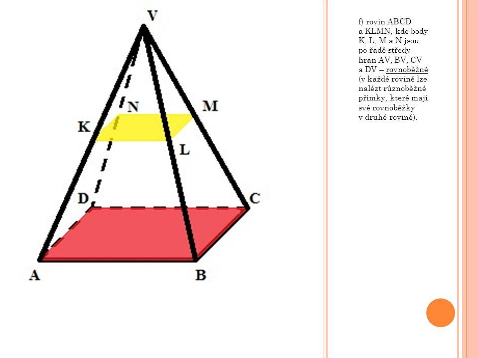 f) rovin ABCD a KLMN, kde body K, L, M a N jsou po řadě středy hran AV, BV, CV a DV – rovnoběžné (v každé rovině lze nalézt různoběžné přímky, které m