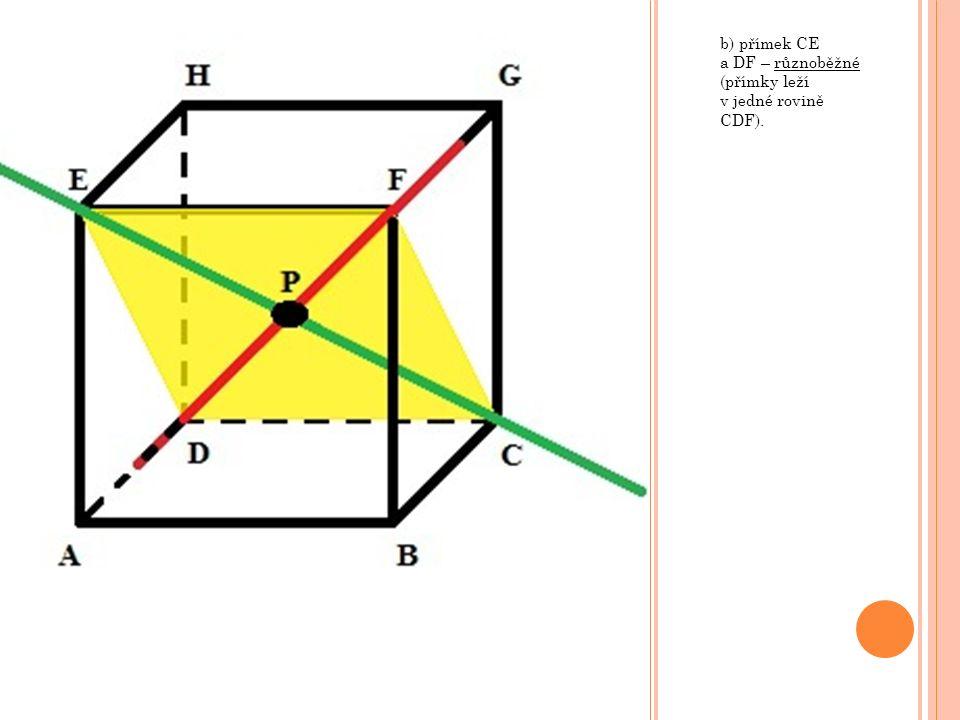 i) rovin ALN a KCM, kde body K, L, M a N jsou po řadě středy hran AB, CD, EF a GH – rovnoběžné (v každé rovině lze nalézt různoběžné přímky, které mají své rovnoběžky v druhé rovině).