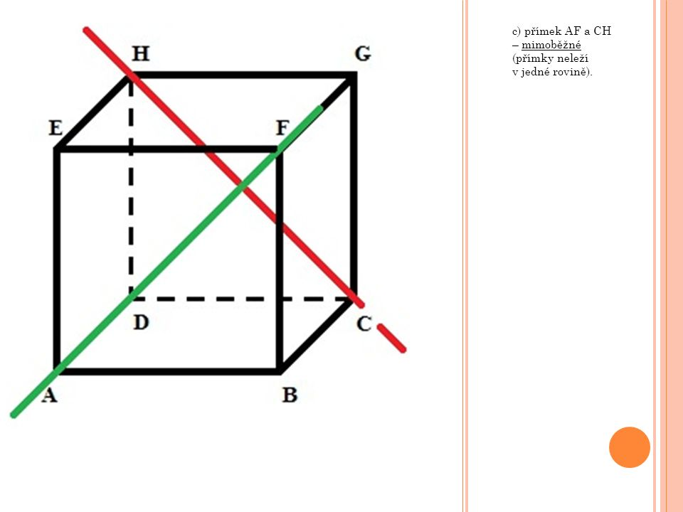 g) rovin KMV a LNV, kde body K, L, M a N jsou po řadě středy hran AB, BC, CD a AD – různoběžné (roviny mají společnou přímku – průsečnici).