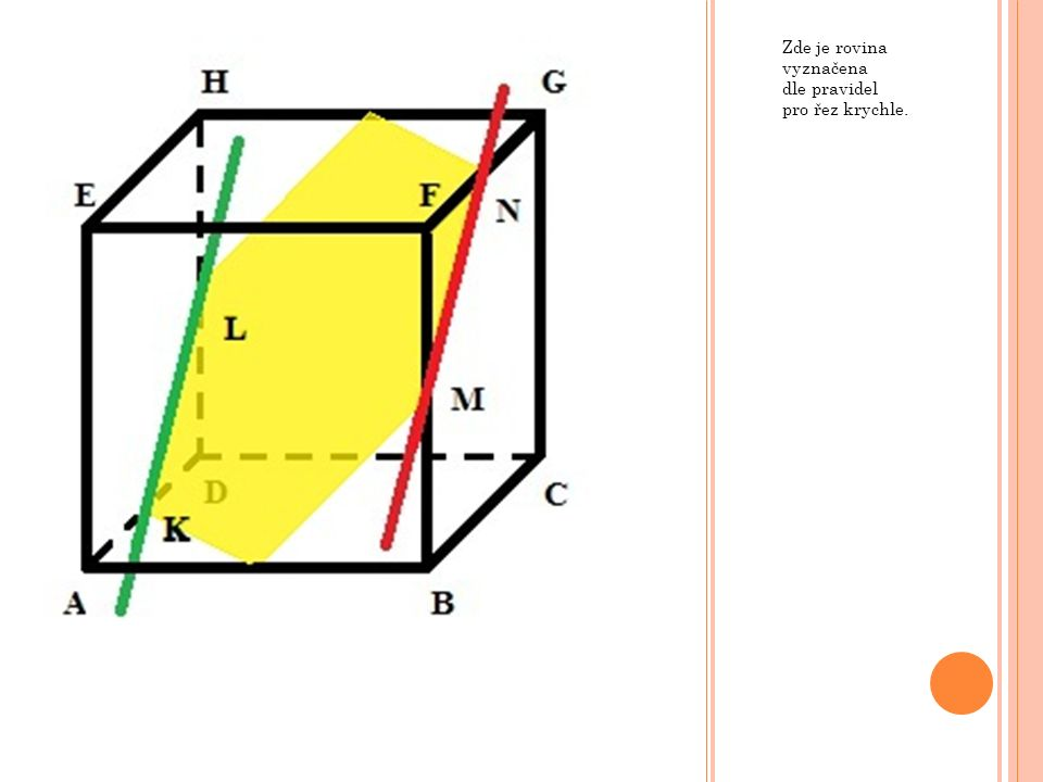 Zde je rovina vyznačena dle pravidel pro řez krychle.