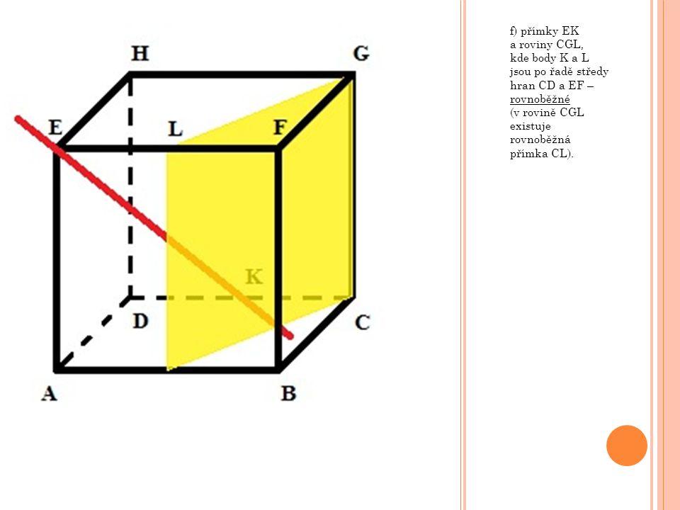 f) přímky EK a roviny CGL, kde body K a L jsou po řadě středy hran CD a EF – rovnoběžné (v rovině CGL existuje rovnoběžná přímka CL).