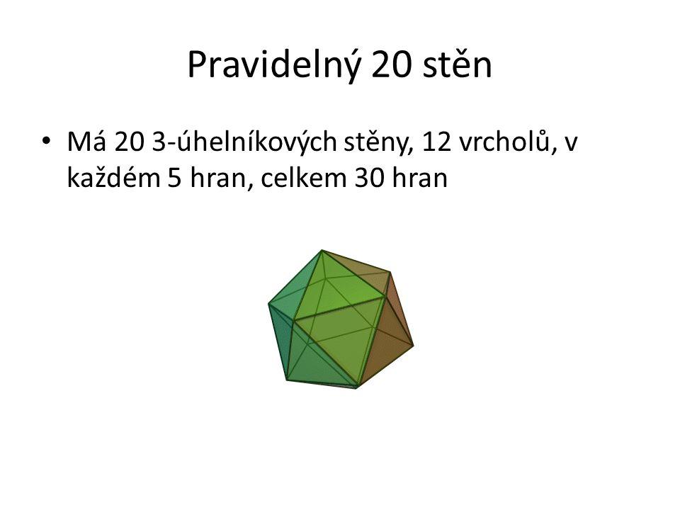 Pravidelný 20 stěn Má 20 3-úhelníkových stěny, 12 vrcholů, v každém 5 hran, celkem 30 hran