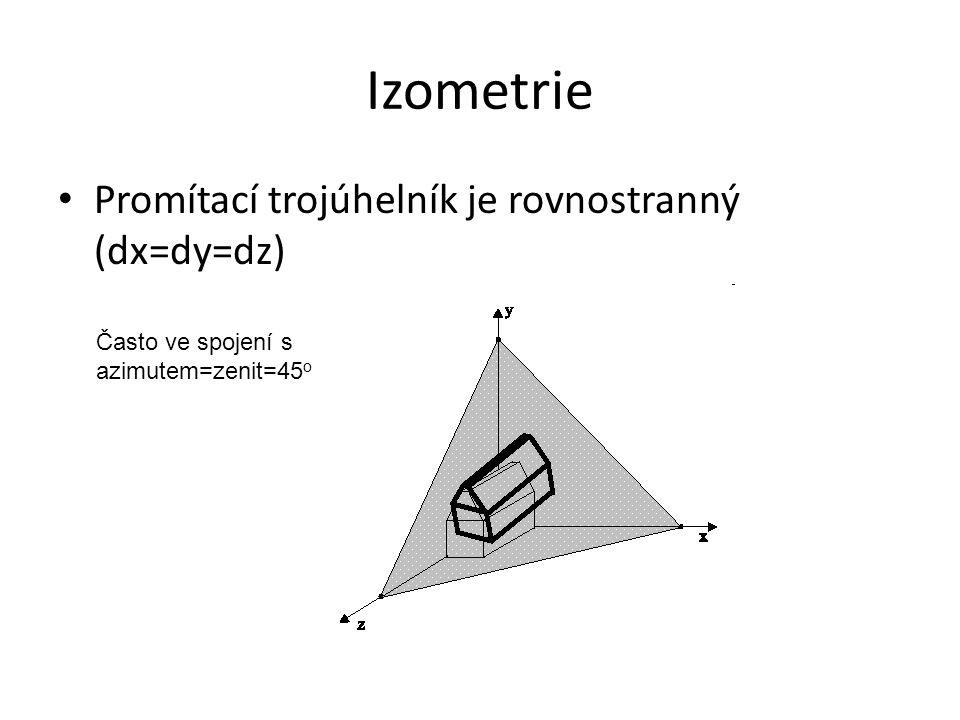 Izometrie Promítací trojúhelník je rovnostranný (dx=dy=dz) Často ve spojení s azimutem=zenit=45 o