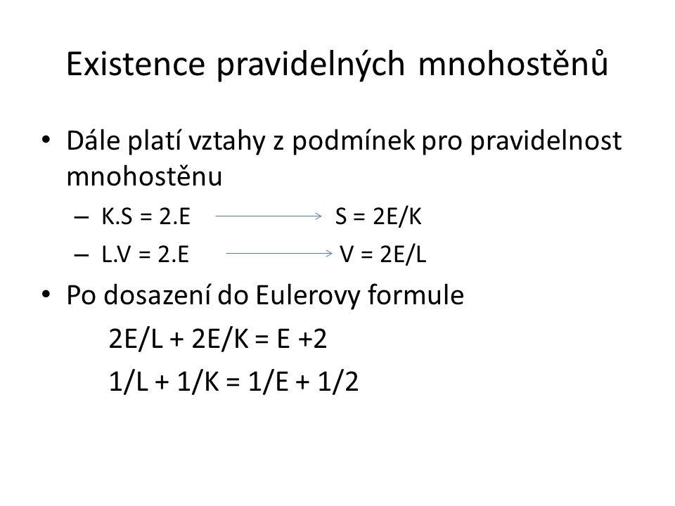 Existence pravidelných mnohostěnů Dále platí vztahy z podmínek pro pravidelnost mnohostěnu – K.S = 2.E S = 2E/K – L.V = 2.E V = 2E/L Po dosazení do Eulerovy formule 2E/L + 2E/K = E +2 1/L + 1/K = 1/E + 1/2