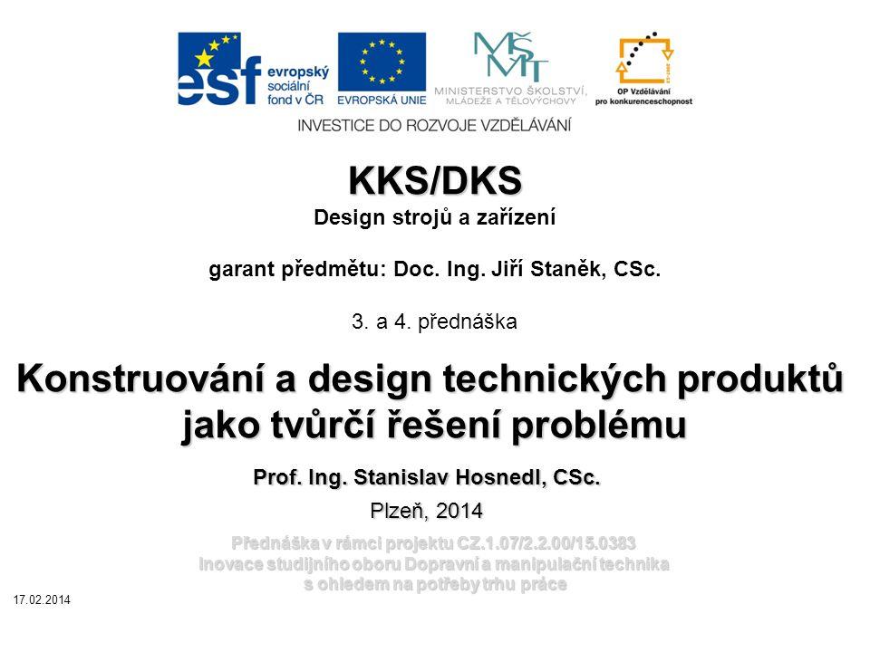 Přednáška v rámci projektu CZ.1.07/2.2.00/15.0383 Inovace studijního oboru Dopravní a manipulační technika s ohledem na potřeby trhu práce KKS/DKS KKS/DKS Design strojů a zařízení garant předmětu: Doc.