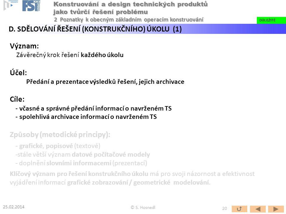 Význam: Závěrečný krok řešení každého úkolu Účel: Předání a prezentace výsledků řešení, jejich archivace Cíle: - včasné a správné předání informací o navrženém TS - spolehlivá archivace informací o navrženém TS Způsoby (metodické principy): - grafické, popisové (textové) -stále větší význam datové počítačové modely - doplnění slovními informacemi (prezentací) Klíčový význam pro řešení konstrukčního úkolu má pro svoji názornost a efektivnost vyjádření informací grafické zobrazování / geometrické modelování.