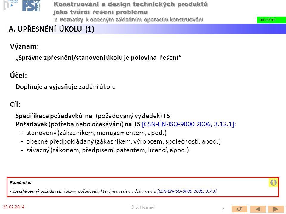 """Význam: """"Správné zpřesnění/stanovení úkolu je polovina řešení Účel: Doplňuje a vyjasňuje zadání úkolu Cíl: Specifikace požadavků na (požadovaný výsledek) TS Požadavek (potřeba nebo očekávání) na TS [CSN-EN-ISO-9000 2006, 3.12.1]: - stanovený (zákazníkem, managementem, apod.) - obecně předpokládaný (zákazníkem, výrobcem, společností, apod.) - závazný (zákonem, předpisem, patentem, licencí, apod.) Poznámka: - Specifikovaný požadavek: takový požadavek, který je uveden v dokumentu [CSN-EN-ISO-9000 2006, 3.7.3] © S."""