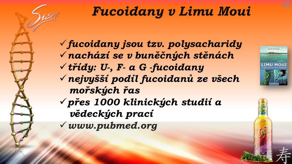Fucoidany v Limu Moui fucoidany jsou tzv. polysacharidy nachází se v buněčných stěnách třídy: U-, F- a G -fucoidany nejvyšší podíl fucoidanů ze všech