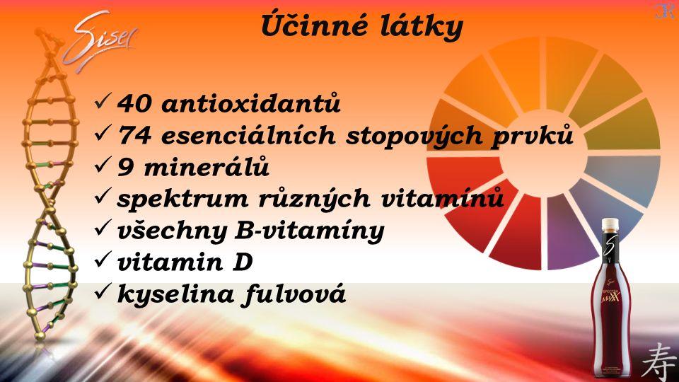 40 antioxidantů 74 esenciálních stopových prvků 9 minerálů spektrum různých vitamínů všechny B-vitamíny vitamin D kyselina fulvová Účinné látky