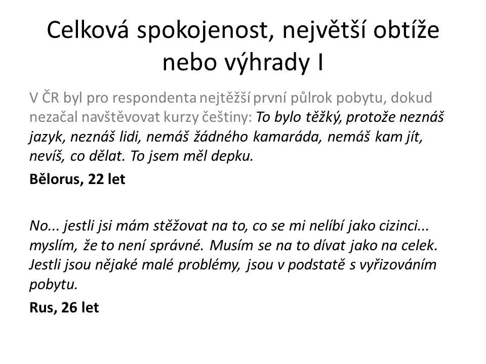 V ČR byl pro respondenta nejtěžší první půlrok pobytu, dokud nezačal navštěvovat kurzy češtiny: To bylo těžký, protože neznáš jazyk, neznáš lidi, nemáš žádného kamaráda, nemáš kam jít, nevíš, co dělat.