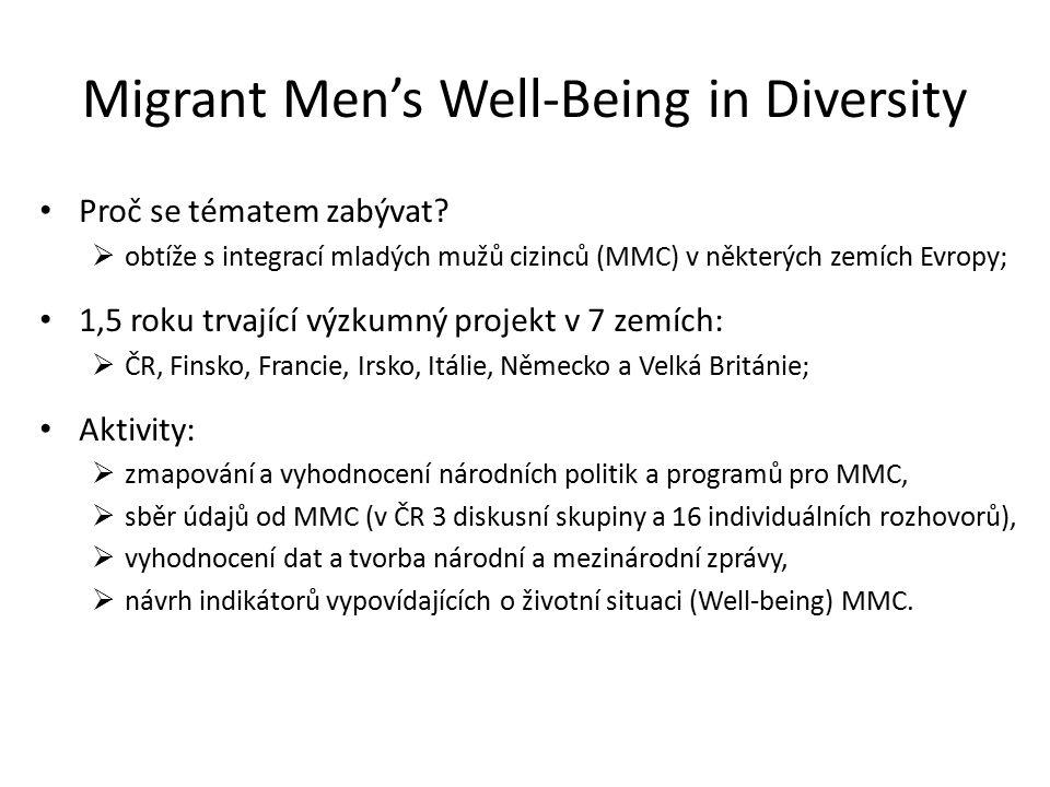 Migrant Men's Well-Being in Diversity Proč se tématem zabývat.