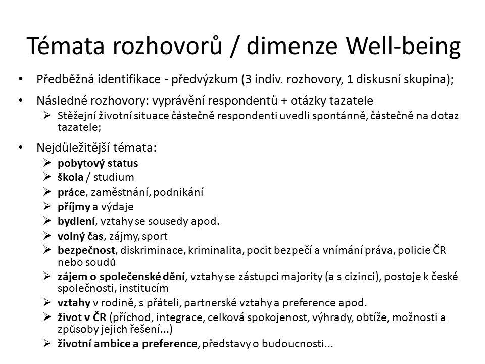 Témata rozhovorů / dimenze Well-being Předběžná identifikace - předvýzkum (3 indiv.