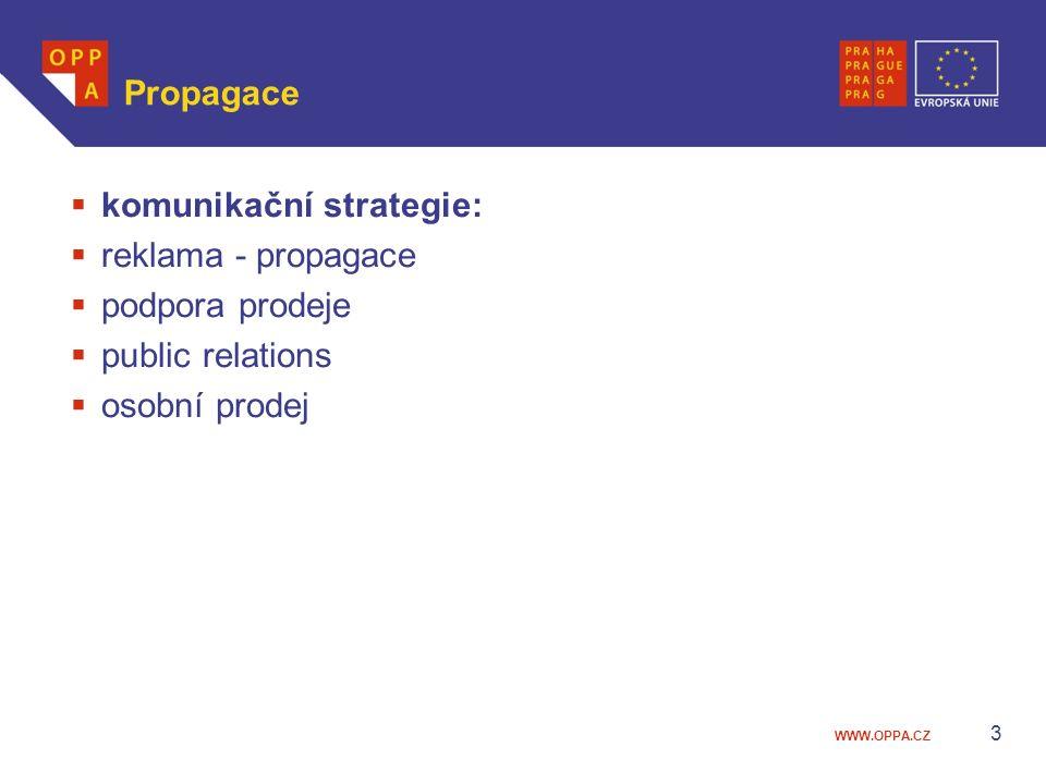 WWW.OPPA.CZ 3 Propagace  komunikační strategie:  reklama - propagace  podpora prodeje  public relations  osobní prodej