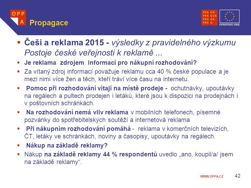 WWW.OPPA.CZ Propagace  Češi a reklama 2015 - výsledky z pravidelného výzkumu Postoje české veřejnosti k reklamě...  Je reklama zdrojem informací pro