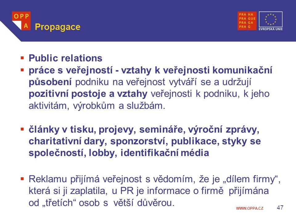 WWW.OPPA.CZ Propagace  Public relations  práce s veřejností - vztahy k veřejnosti komunikační působení podniku na veřejnost vytváří se a udržují poz