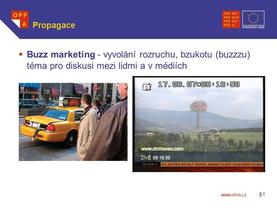 WWW.OPPA.CZ Propagace  Buzz marketing - vyvolání rozruchu, bzukotu (buzzzu) téma pro diskusi mezi lidmi a v médiích 51