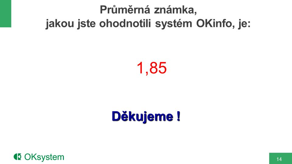 Děkujeme ! Průměrná známka, jakou jste ohodnotili systém OKinfo, je: 14 1,85
