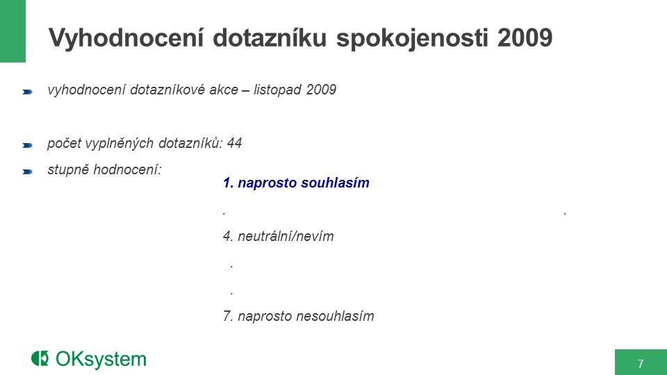 7 vyhodnocení dotazníkové akce – listopad 2009 počet vyplněných dotazníků: 44 stupně hodnocení: 1. naprosto souhlasím.. 4. neutrální/nevím. 7. naprost