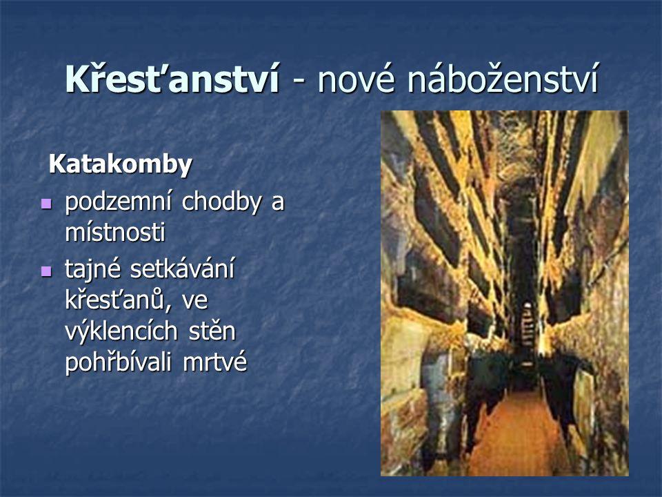 Křesťanství - nové náboženství Katakomby Katakomby podzemní chodby a místnosti podzemní chodby a místnosti tajné setkávání křesťanů, ve výklencích stě