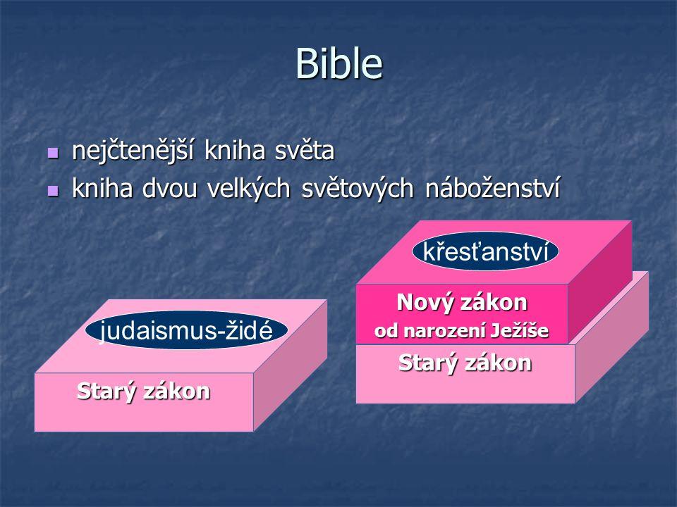 Bible nejčtenější kniha světa nejčtenější kniha světa kniha dvou velkých světových náboženství kniha dvou velkých světových náboženství Starý zákon ju