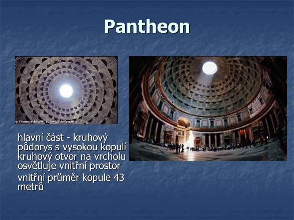 Pantheon hlavní část - kruhový půdorys s vysokou kopulí - kruhový otvor na vrcholu osvětluje vnitřní prostor vnitřní průměr kopule 43 metrů